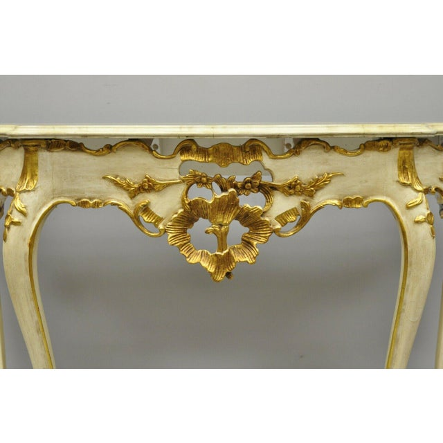 French 20th Century French Louis XV Rococo Cream & Gold Gilt Console Table For Sale - Image 3 of 11