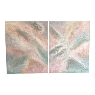 Lee Reynolds Mid-Century Modern Impasto Diptych Paintings For Sale