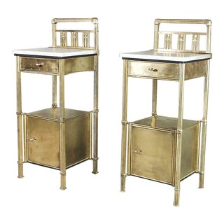 Antique Art Deco Brass Nightstands - a Pair For Sale