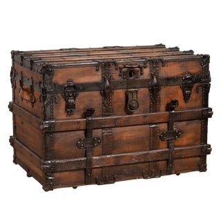 Antique Indonesian Travel Treasure Chest With Brown Patina and Leather Details For Sale