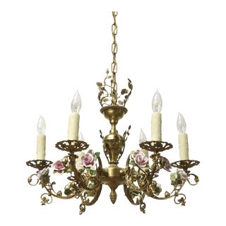 French Porcelain Roses Chandelier For Sale