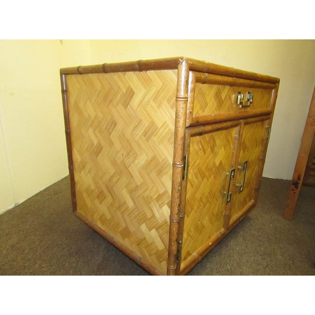Split Bamboo & Woven Accent Table Cabinet For Sale In West Palm - Image 6 of 7