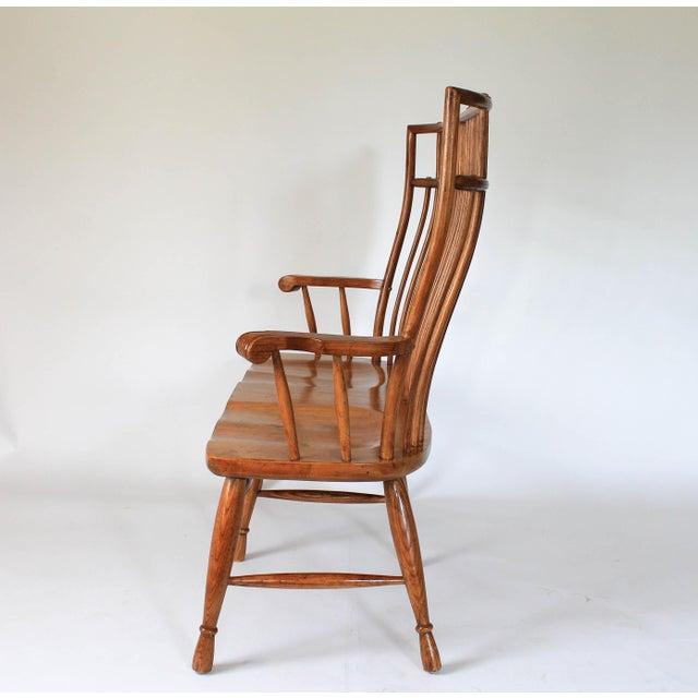High Back Solid Oak Bench - Image 4 of 11
