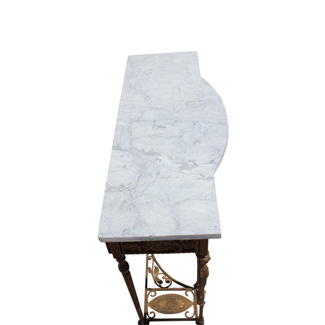 1920s Art Deco Marble Top Iron Table For Sale In Boston - Image 6 of 11