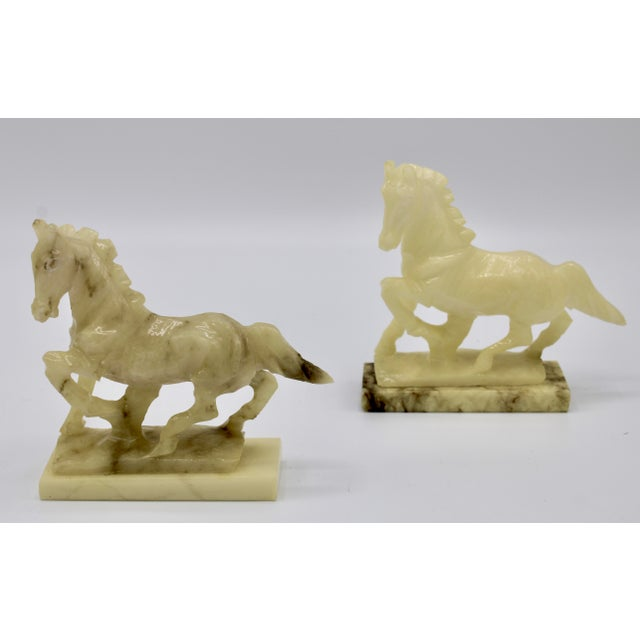 Mid-20th Century Italian Alabaster Mantle Horse Bookends - a Pair For Sale - Image 4 of 13