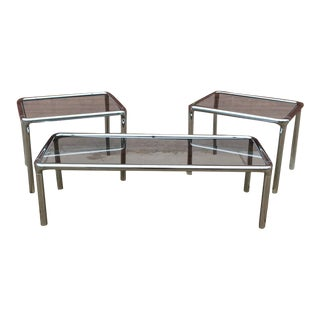 Tubular Chrome & Smoky Glass Coffee Table & Side Tables - Set of 3