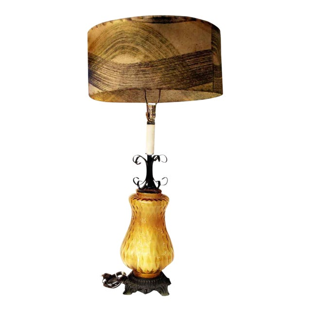 Amber Glass & Wrought Iron Lamp For Sale