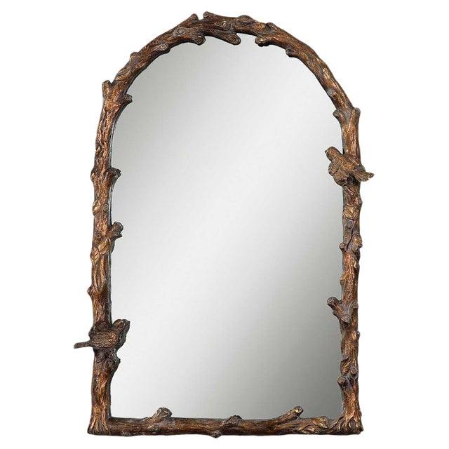 Faux Bois Bird Motif Wall Mirror For Sale