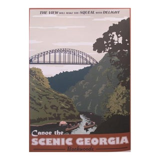 2012 Modern Retro Movie Travel Poster, Canoe the Scenic Georgia Backwoods For Sale