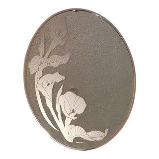 1970s Mid Century Modern Gloria Eriksen Frosted Glass Metal Copper Wall Mirror