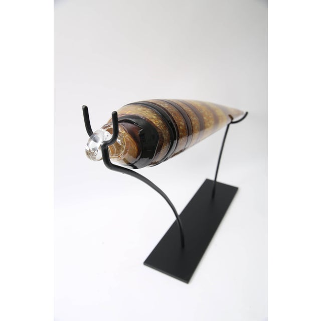 Artisan Glass Marlinspike Form Seashell Sculpture on Stand For Sale In West Palm - Image 6 of 10