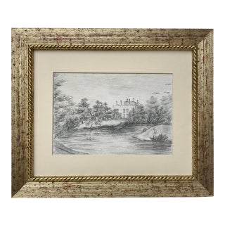 Antique Drawing of English Manor House in a Landscape For Sale