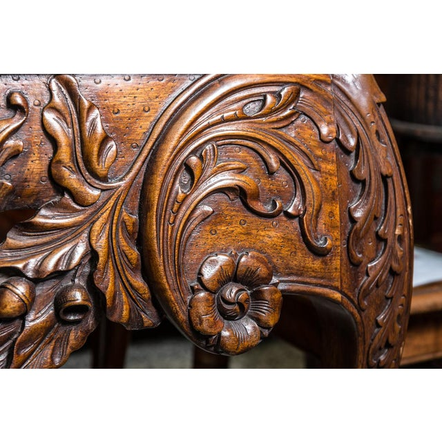 Irish Chippendale Style Oak Table with Marble Top For Sale In West Palm - Image 6 of 9