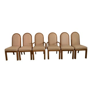 Vintage Mid Century Danish Upholstered Pink Dining Chairs- Set of 6 For Sale