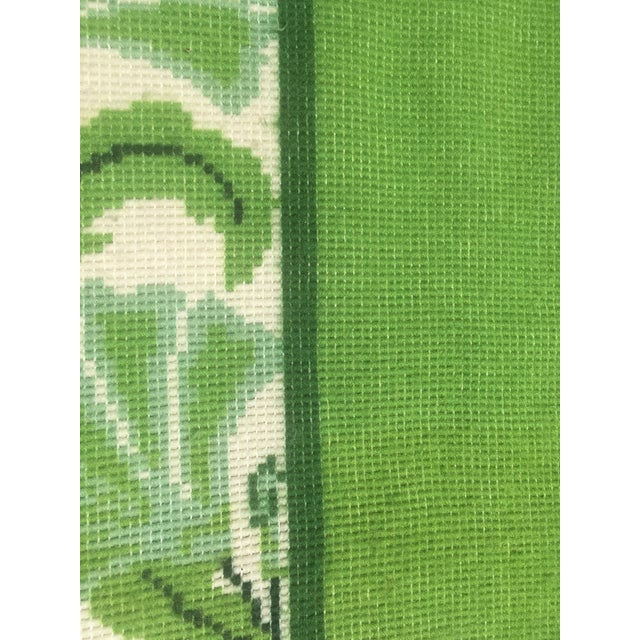 20th Century Scandinavian Modern Green and White Paisley Wool Rya Shag Rug For Sale - Image 9 of 10