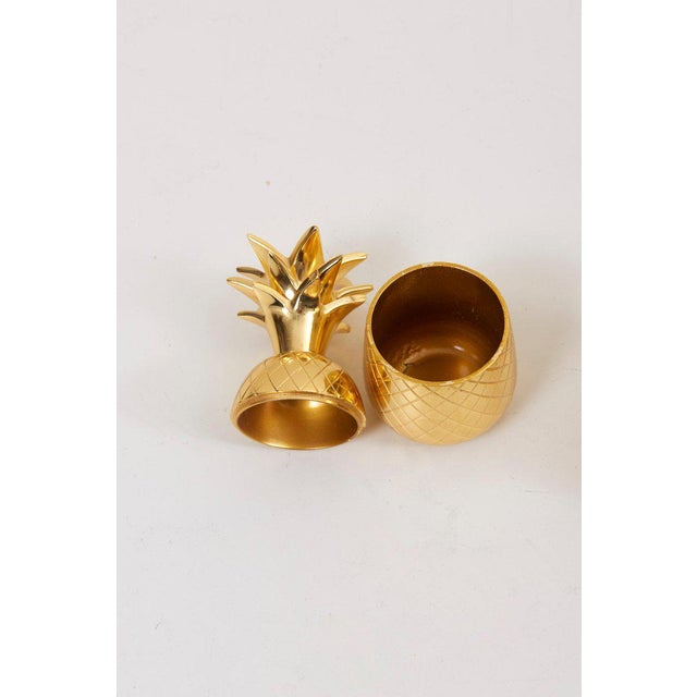 Brass Set of 3 Brass Pineapple Ice Buckets or Candy Boxes For Sale - Image 7 of 9