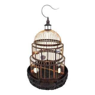 Old Chinese Bamboo Bird Cage With Porcelain Bowls, Cicadas & Dragon Decorations For Sale