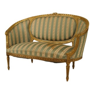 French Louis XVI Green Striped Upholstery For Sale