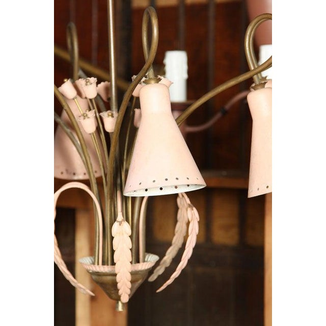 Mid-Century Modern Mid-Century Modern Brass and Pink Painted Metal Chandelier For Sale - Image 3 of 8