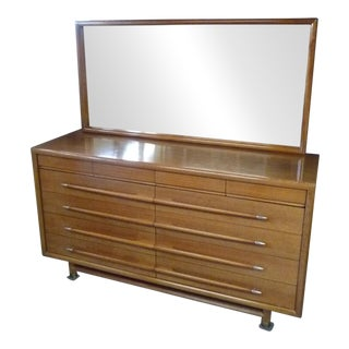 Mid-Century Brown Saltman Mahogany Dresser With Mirror For Sale