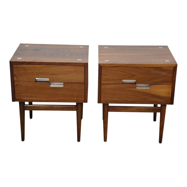 American of Martinsville Walnut Nightstands - A Pair - Image 1 of 9
