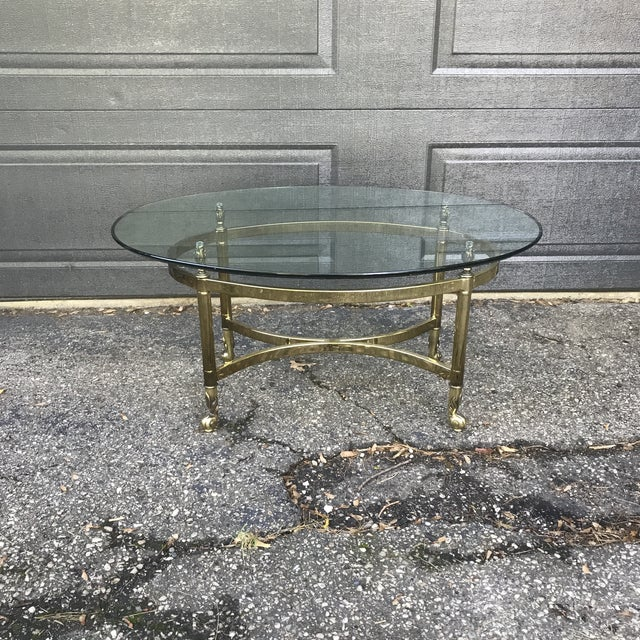 Hollywood Regency Brass and Glass Coffee Table by LaBarge For Sale - Image 9 of 9