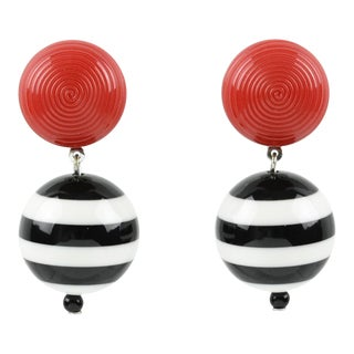Angela Caputi Dangling Resin Clip on Earrings Black White Red Nautical Color For Sale