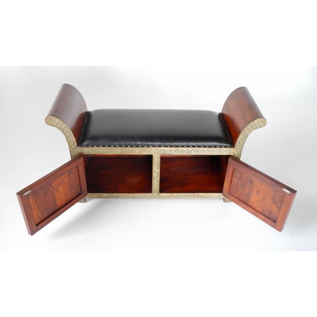 Handmade in India Brass Inlaid Settee With Storage For Sale - Image 4 of 6