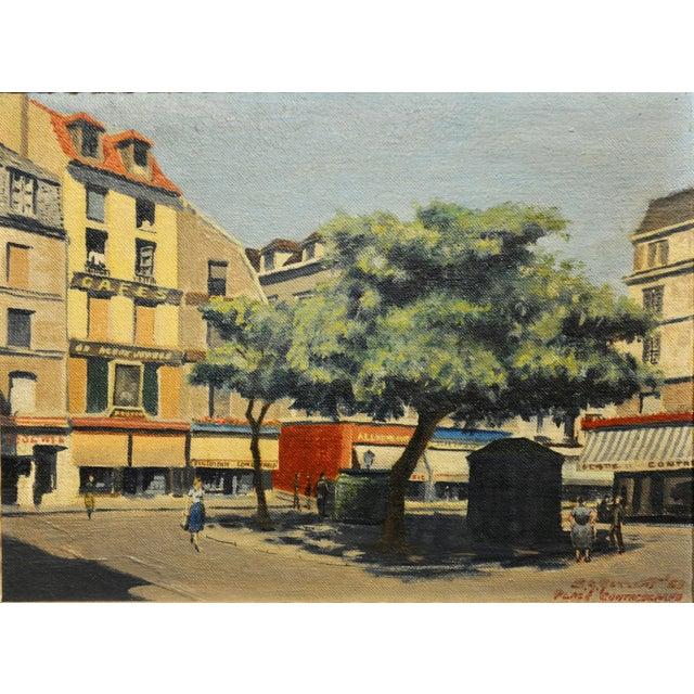 s.g. Garrett -Place De La Contrescarpe ,Paris 1963 - Oil Painting For Sale - Image 4 of 9