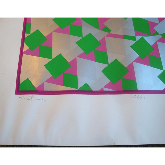 Large Op Art Silver Metallic Silkscreen Poster - Image 3 of 5