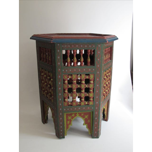 Moroccan Green & Red Carved Wood Side Table For Sale - Image 9 of 9