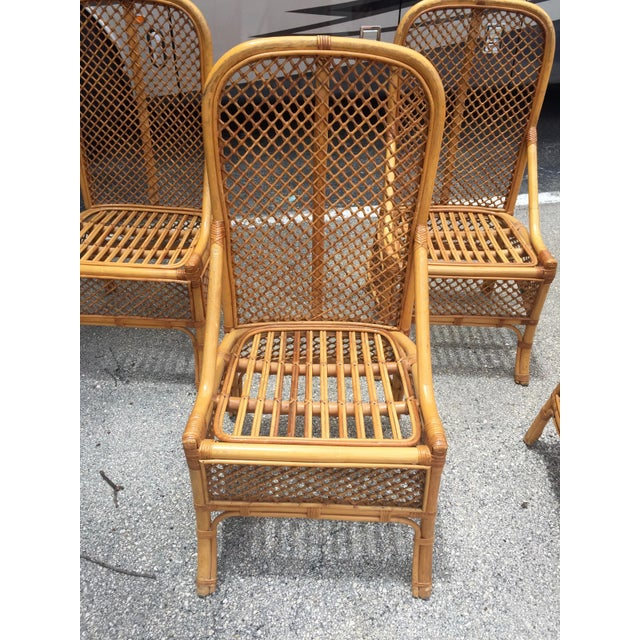 Boho Chic 1970s Vintage Chippendale Style Rattan Bamboo Dining Chairs- Set of 6 For Sale - Image 3 of 11