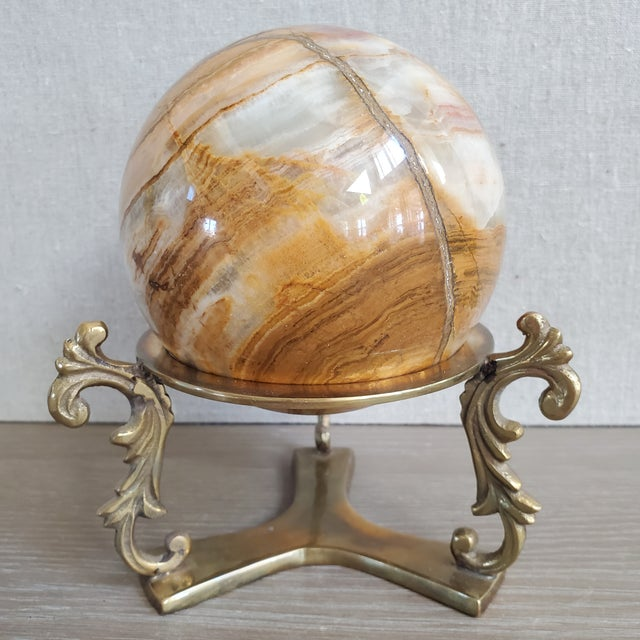 Italian Marble Sphere With Brass Base For Sale - Image 9 of 9