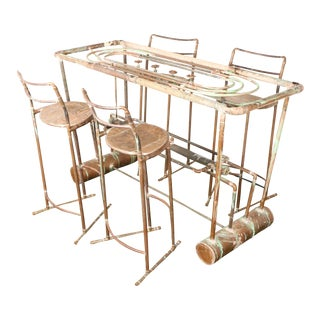 Industrial Copper Bar Table & 4 Bar Stools For Sale