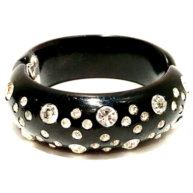 1950's Vintage Weiss Black Thermoplastic & Swarovski Crystal Clamper Cuff Bracelet For Sale - Image 11 of 11