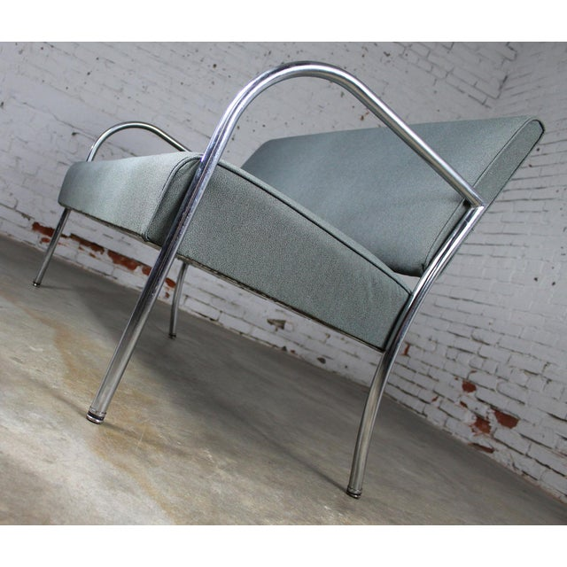 Silver Art Deco Machine Age Streamline Moderne Royal Metal Co. Chrome and Upholstered Bench Sofa For Sale - Image 8 of 11