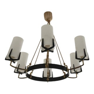 Large Mid-Century Brass & Opaline Chandelier by Rupert Nikoll For Sale