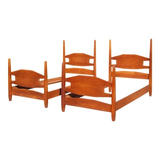 Vintage Pair Twin Size Solid Maple Poster Beds Single Bed Frames For Sale