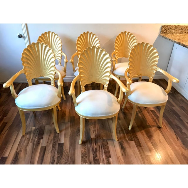 Mid Century Hollywood Regency Venetian Grotto Shell Gold Carved Arm Chairs- Set 6 For Sale - Image 12 of 12