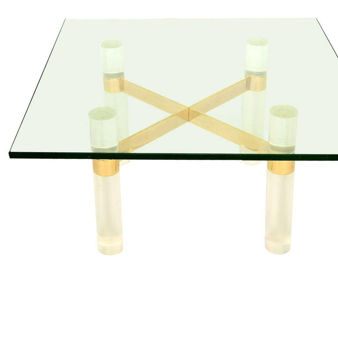 Superbe For Your Consideration, Karl Springer Lucite Coffee Table Base. Round  Lucite Legs Secured By