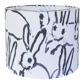 Black and Ivory White Rabbit Lamp Shade 16x12 For Sale