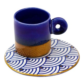 Hand Painted Blue Espresso Cup and Saucer For Sale