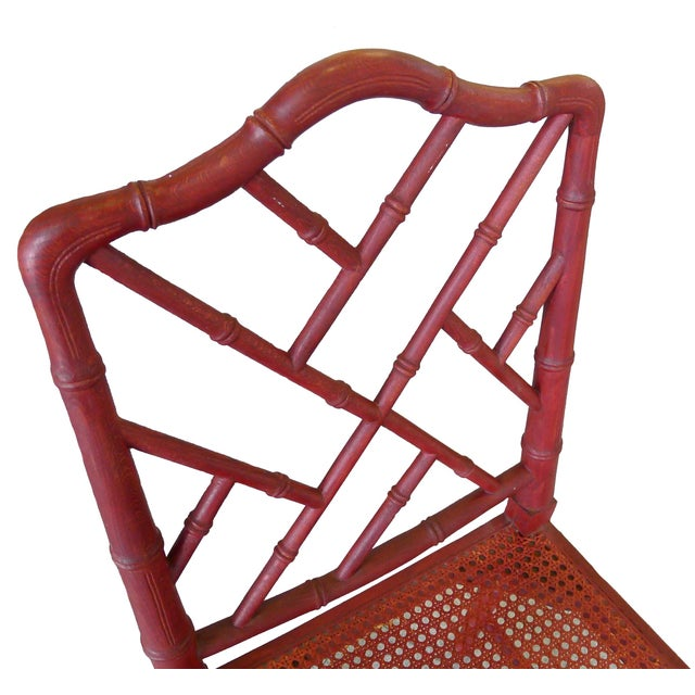 1960s Red Chinoiserie Bamboo-Style Chair - Image 6 of 7