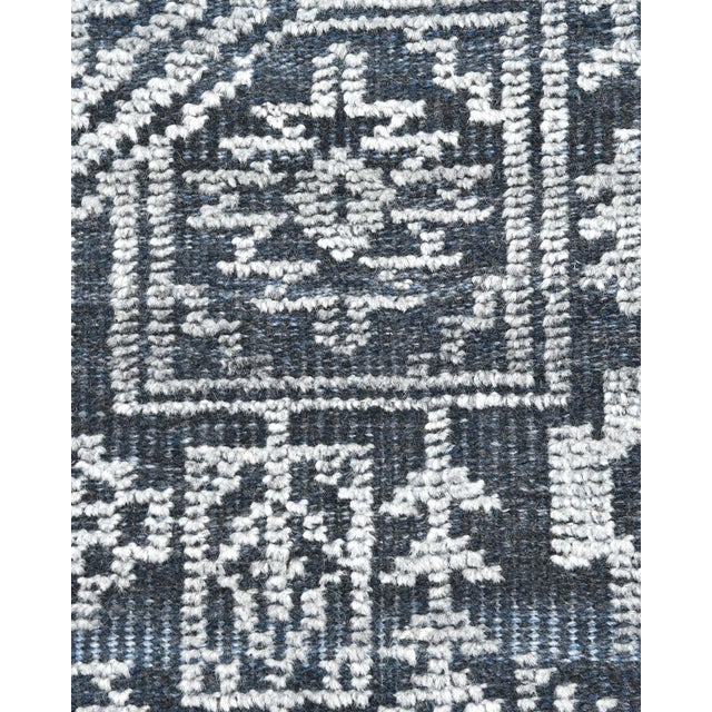 Solo Rugs Quinn, Contemporary Transitional Hand-Knotted Runner Rug, Navy, 2' 6 X 8 For Sale - Image 4 of 8