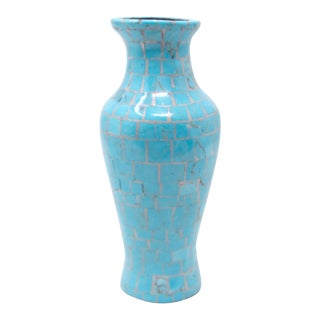 Stunning Puebo Turquoise Tiles Inlaid With Sterling Silver Hand Coiled Vase