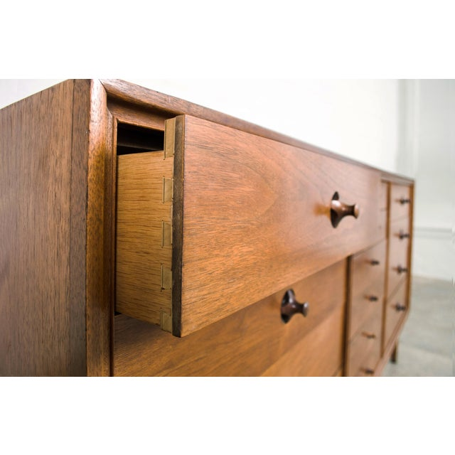 Mid Century Walnut & Rosewood Lowboy Dresser For Sale - Image 9 of 11