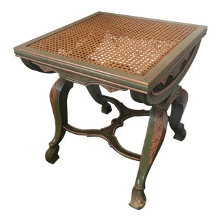 Vintage French Style Painted X-Frame Caned Seat Stool For Sale