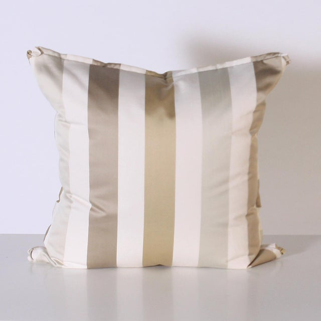 Mid-Century Modern Pair of Pillows Upholstered in Jan Showers for Kravet Jan's Stripe Opal Fabric For Sale - Image 3 of 4