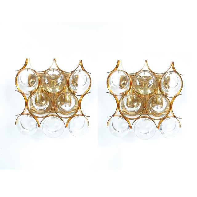 Brass Pair of Gilded Brass and Crystal Sconces by Palwa For Sale - Image 7 of 7