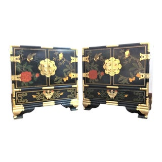 Vintage Chinoiserie Hand Painted Nightstands or End Tables - a Pair For Sale